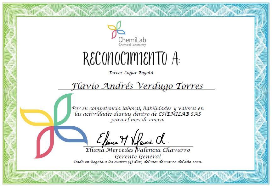Reconocimiento Flavio Andres Verdugo Torres