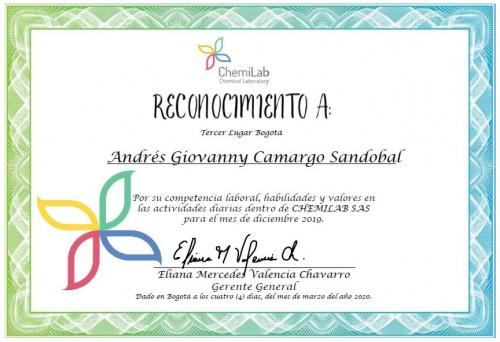 Reconocimiento Andres Giovanny Camargo Sandobal