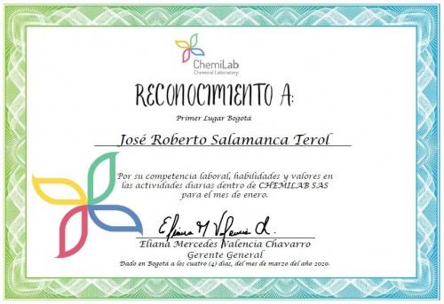 Reconocimiento Jose Roberto Salamanca Terol